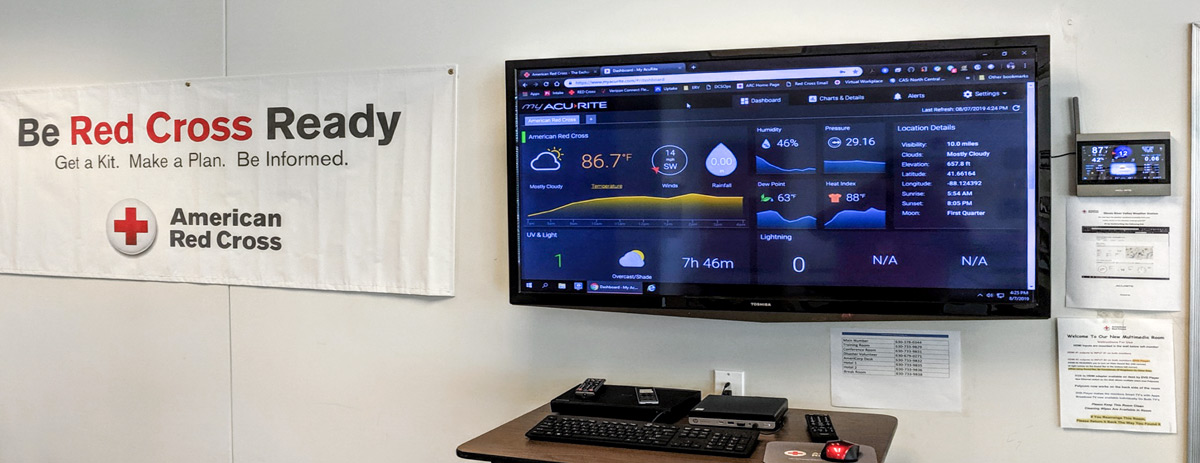 Red Cross banner, AcuRite Atlas display and video monitor with My AcuRite