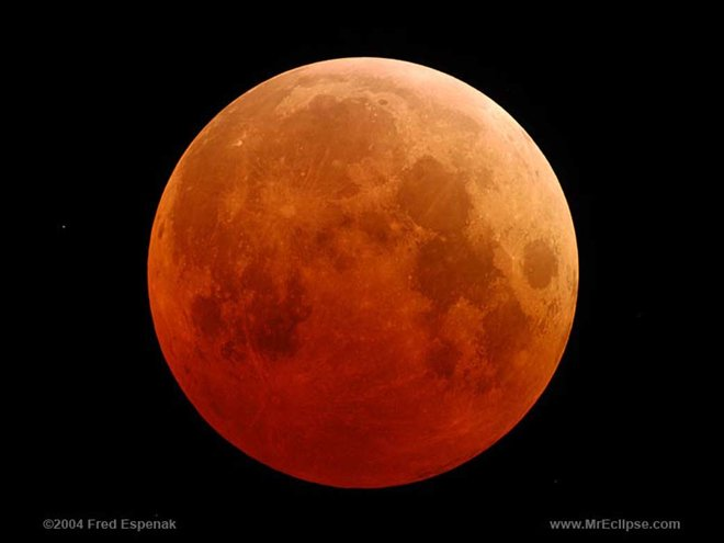 Red moon in clear black sky