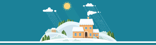 Snowy home illustration on blue background