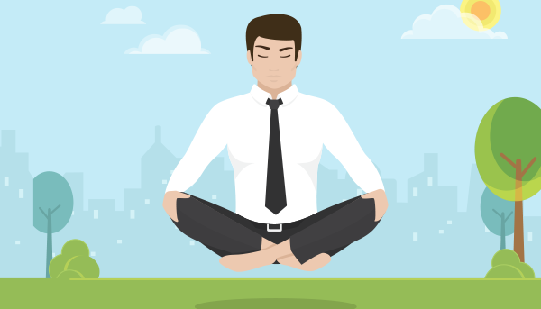 Man floating above the ground in yoga pose