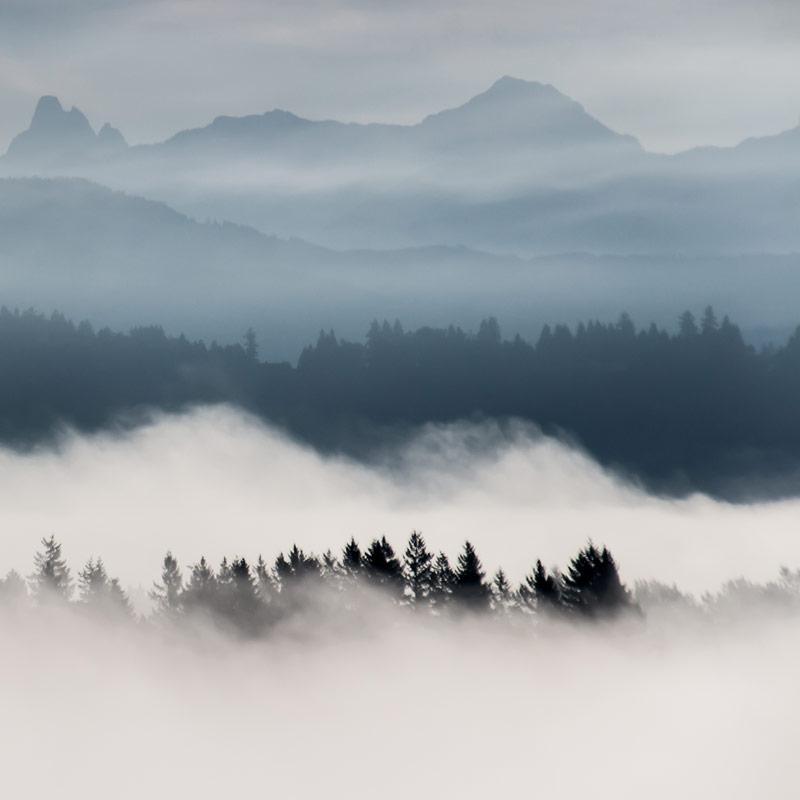 Freezing fog over mountains