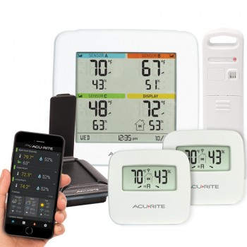 Multi-Sensor Display & 3-Sensor Indoor / Outdoor Smart Home Environment System with My AcuRite
