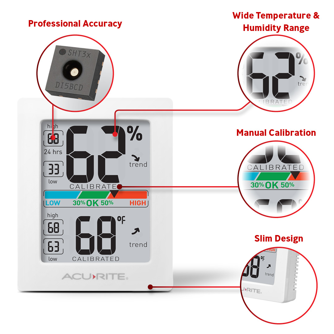 Pro Accuracy, Slim Design, Wide Temp/Humidity Range, Calibration