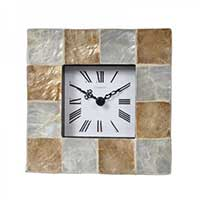 Seashell Mosaic Mantel Clock