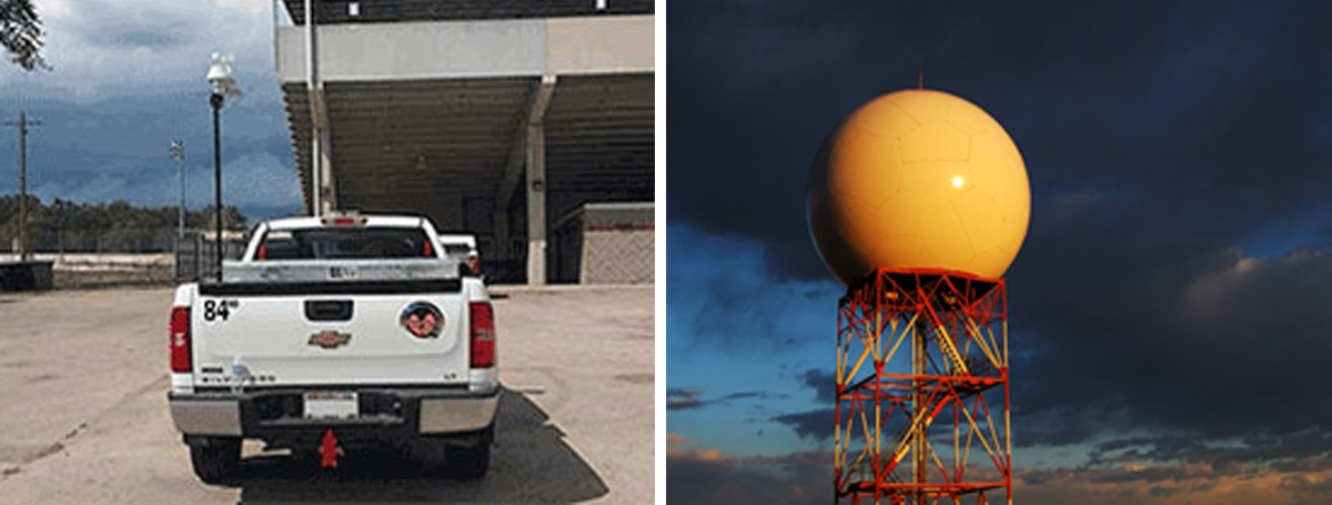Storm tracker truck and weather radar tower