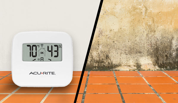 AcuRite Room sensor with healthy humidity levels contrasting second image of room with high humidity and mold