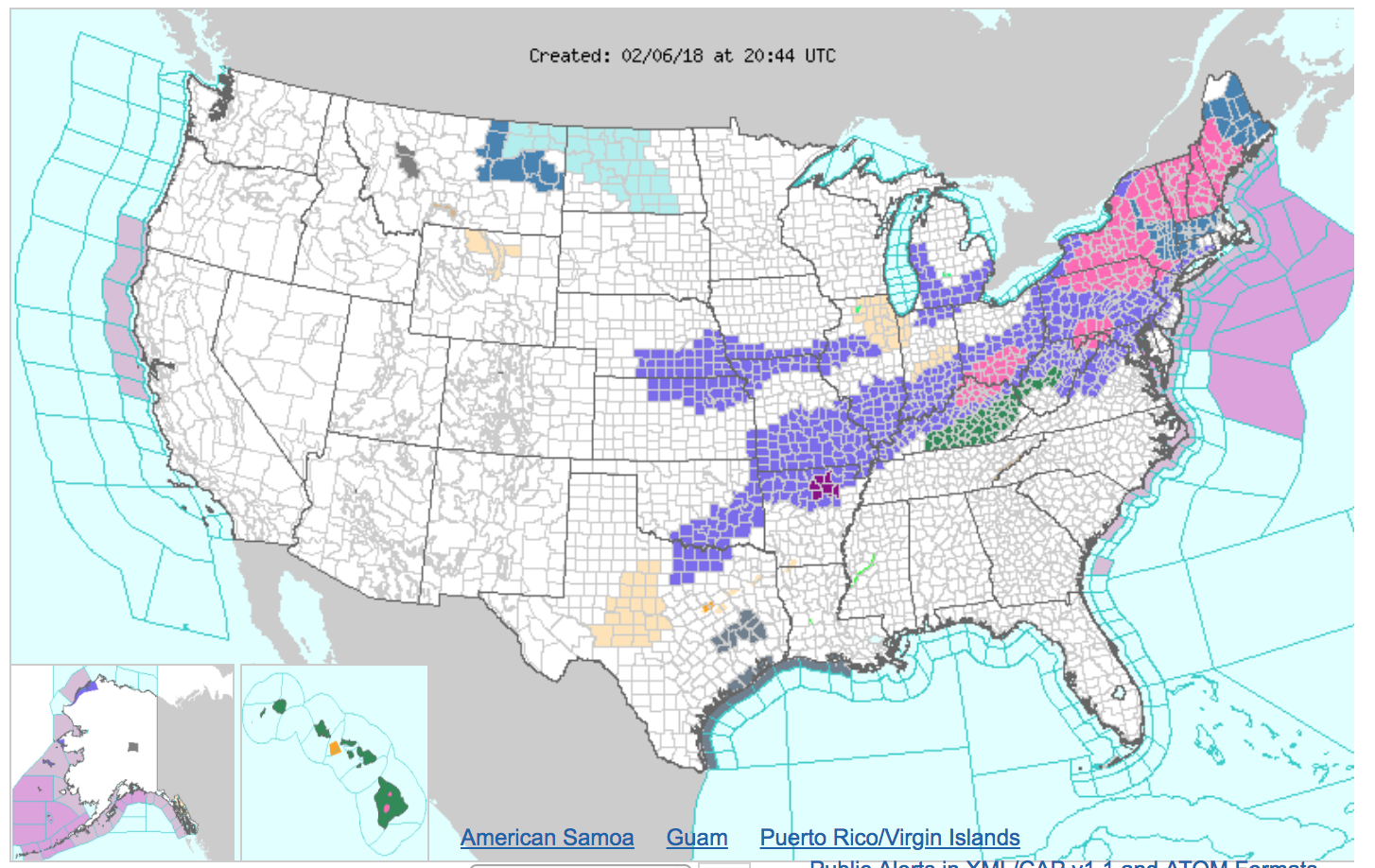Weather map showing winter storms spreading from the central to northeast United States