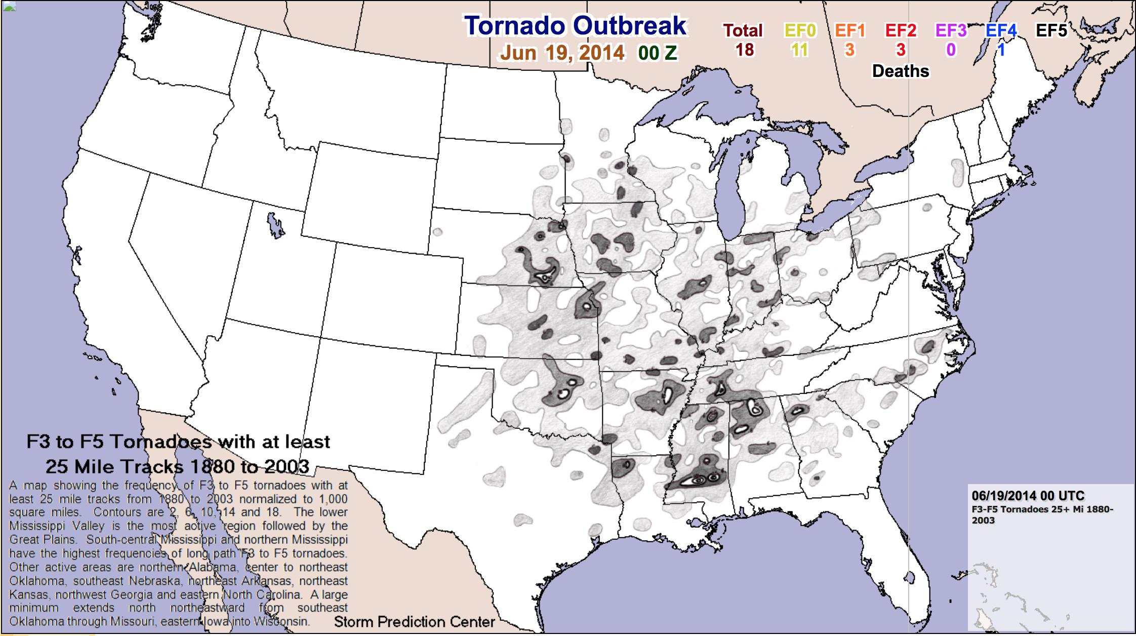 Tornado Outbreak Map - June 19, 2014