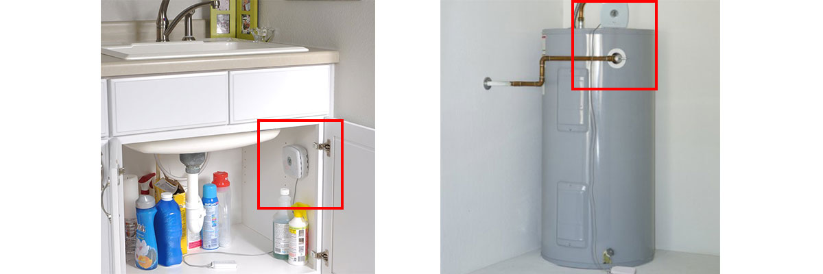 two photos, side by side: AcuRite Water Leak Detector under a sink and AcuRite Water Leak Detector on a water heater
