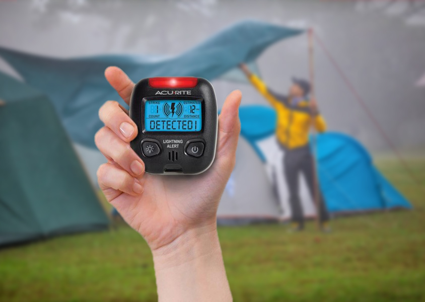 Portable lightning sensor in the rain at campsite