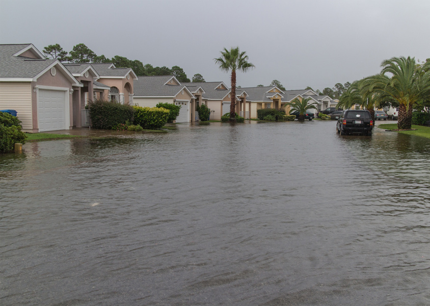 Flooded streets in neighborhood