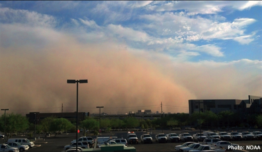 Dust strorm over parking lot