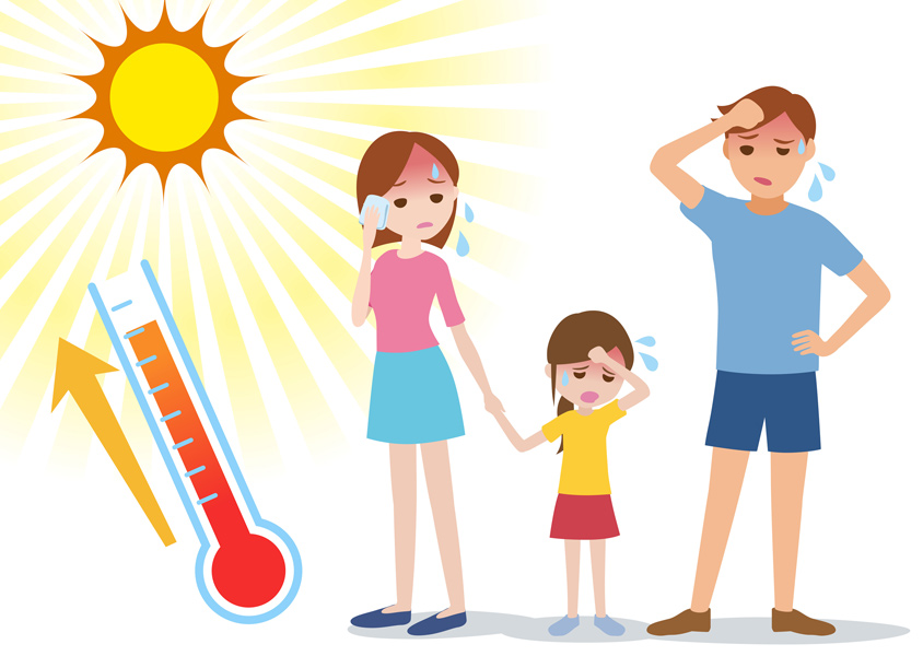Family sweating under the sun with temperature on thermometer rising