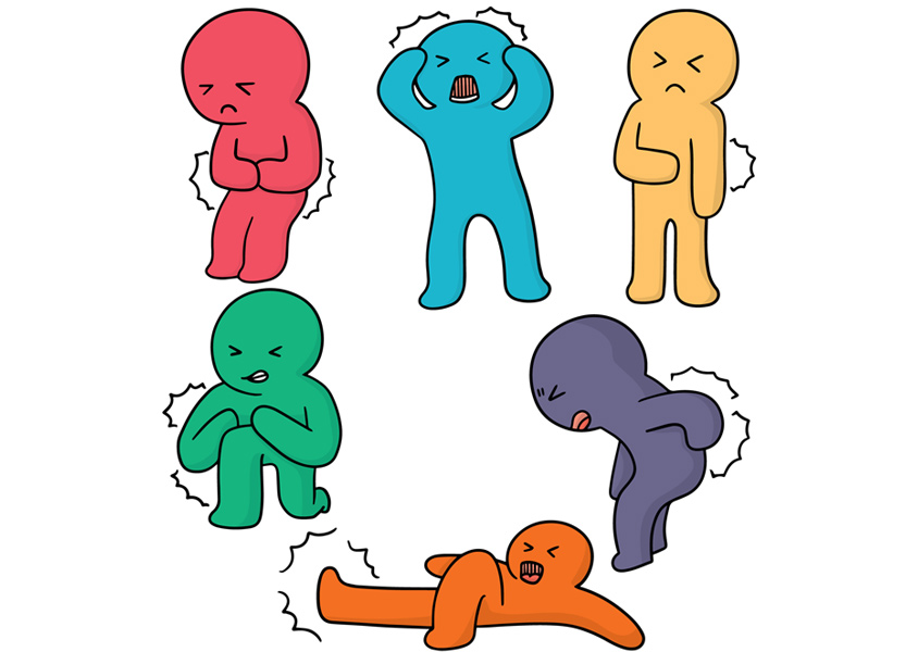 Cartoon characters showing signs of aches and pains