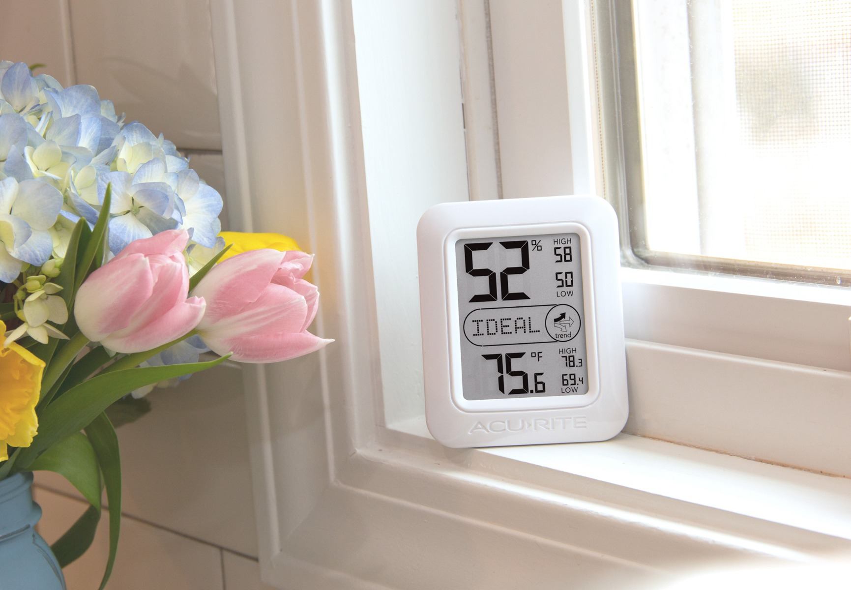 Home Monitoring System on window sill aside flower arrangement