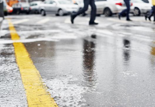 Freezing rain on a city street