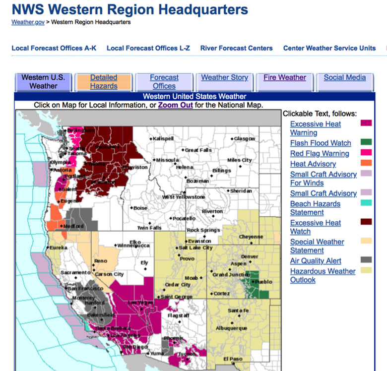 Map of the west coast of the United States under excessive heat warnings