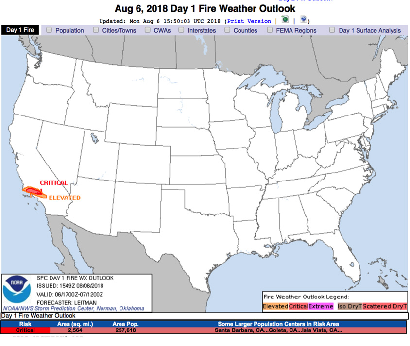 Map of areas under critical or elevated fire danger in the fire outlook