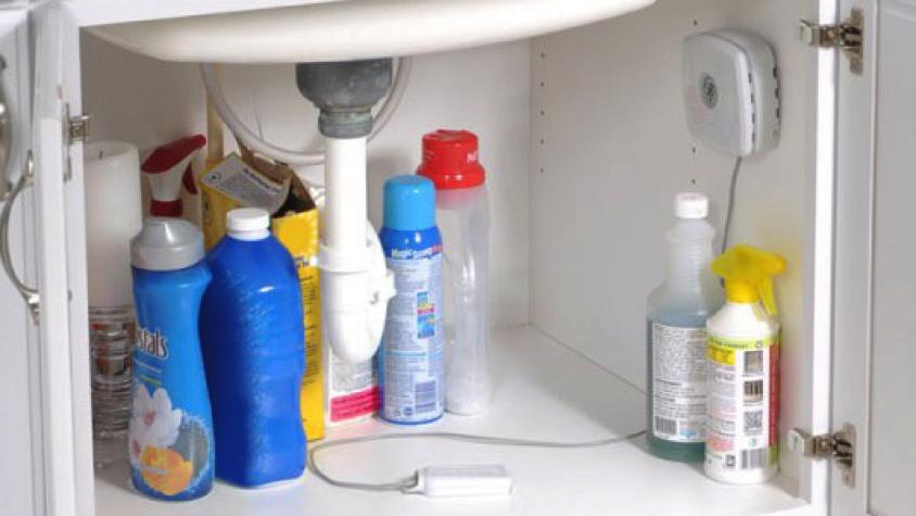 Water Leak Detector installed under sink