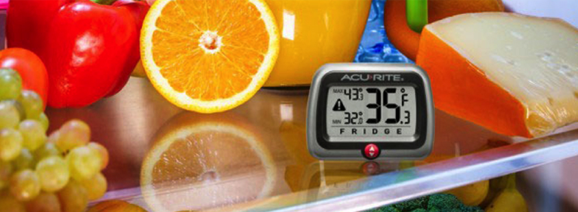 Refrigerator / Freezer Thermometer on shelf of open fridge