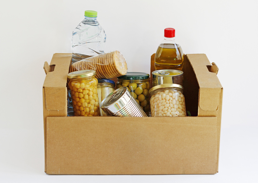 Emergency food supply with canned and bottled goods