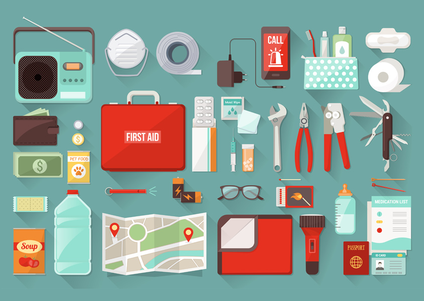 Emergency Kit, including first aid, water, radio, etc.